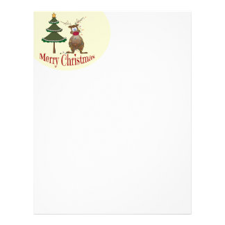 Reindeer Tangled in Lights Christmas Letter Paper