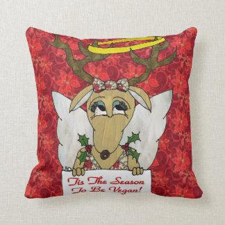 Reindeer Tis The Season to Be Vegan  Angel Pillow