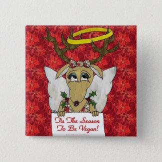 Reindeer Tis The Season to Be Vegan Gifts Apparel Pinback Button