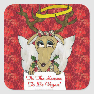 Reindeer Tis The Season to Be Vegan Gifts Apparel Square Sticker