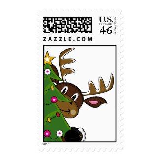 Reindeer & Tree Postage stamp