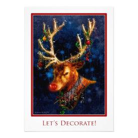 Reindeer Tree Trimming Party Custom Invitation