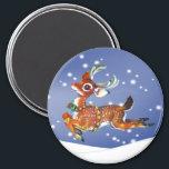 """reindeer vintage art magnet<br><div class=""""desc"""">vintage christmas art of red nose reindeer magnet</div>"""