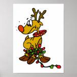 Reindeer w/ Lights Poster