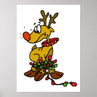 Reindeer w Lights Poster