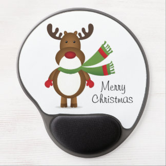 Reindeer Wearing a Green Scarf Gel Mouse Pads