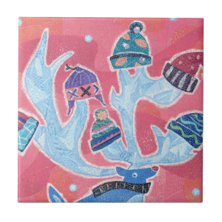 Reindeer wearing many Hats in Winter Christmas Small Square Tile