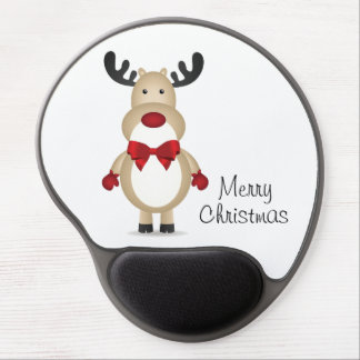 Reindeer Wearing Red Bow Tie Gel Mouse Mats