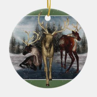 Reindeer Winter Scene Round Ornament