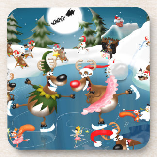 Reindeer winter wonderland drink coaster