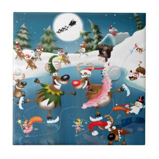 Reindeer winter wonderland small square tile