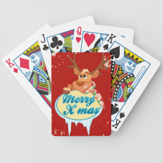 Reindeer wishing Merry X-Mas illustration Bicycle Playing Cards