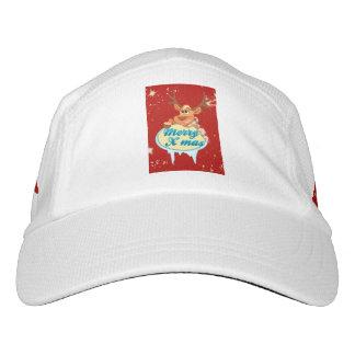 Reindeer wishing Merry X-Mas illustration Headsweats Hat