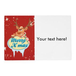 Reindeer wishing Merry X-Mas illustration Placemat