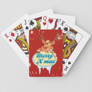 Reindeer wishing Merry X-Mas illustration Playing Cards