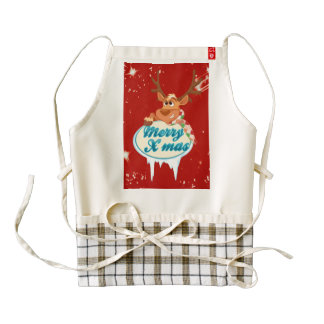 Reindeer wishing Merry X-Mas illustration Zazzle HEART Apron