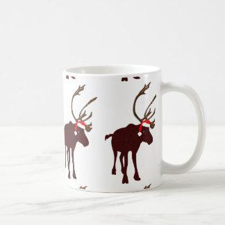 Reindeer with Antlers and Santa Hat Mug