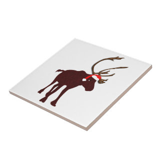 Reindeer with Antlers and Santa Hat Small Square Tile