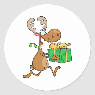 Reindeer With Christmas Gift Classic Round Sticker