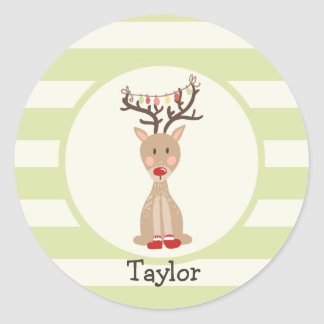 Reindeer with Christmas Lights; Light Green Classic Round Sticker