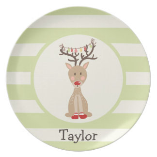 Reindeer with Christmas Lights; Light Green Plate