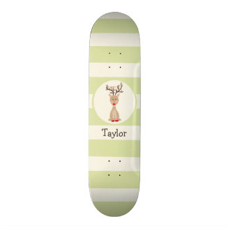 Reindeer with Christmas Lights; Light Green Skateboard