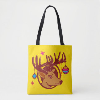 Reindeer with Christmas Ornaments + your idea Tote Bag