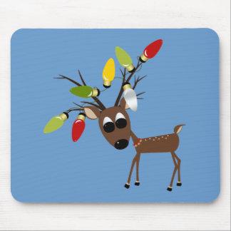 Reindeer With Christmas Tree Lights Mousepad