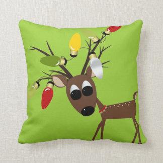 Reindeer With Christmas Tree Lights Throw Pillow