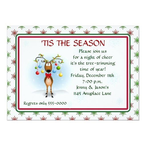 """Reindeer with Ornaments Christmas Party Invitation 5"""" X 7"""" Invitation Card"""