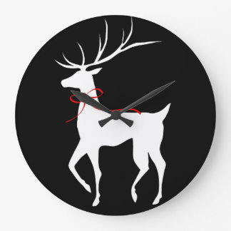 Reindeer with Red Bow Large Clock