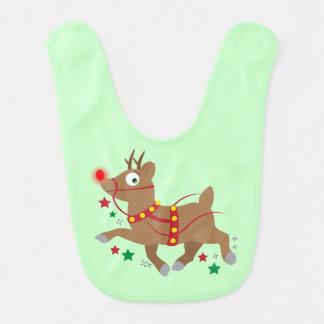 Reindeer with Red-Nose Cartoon Baby Bib