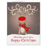 Reindeer with red nose Christmas card large grey