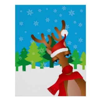 Reindeer with Red Santa Hat and Scarf Poster