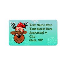 Reindeer With Santa Claus Hat Label