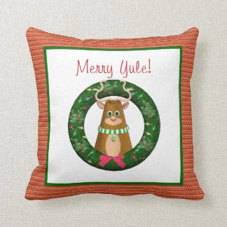 Reindeer Wreath Yule Throw Pillow