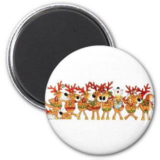 Reindeers Sing 2 Inch Round Magnet