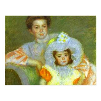 Reine Lefevre and Margot c 1902 Mary Cassatt Postcard
