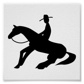 reining horse icon poster