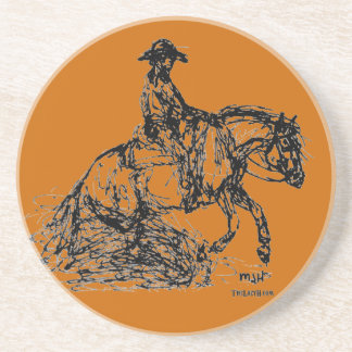 Reining Horse Simple Sketch Drink Coaster