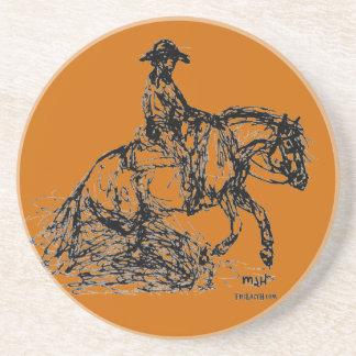 Reining Horse Simple Sketch Drink Coaster