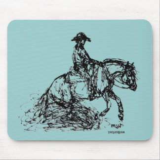 Reining Horse Simple Sketch Mouse Pad