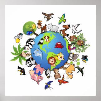 Reino animal: Animales en todo el mundo Póster