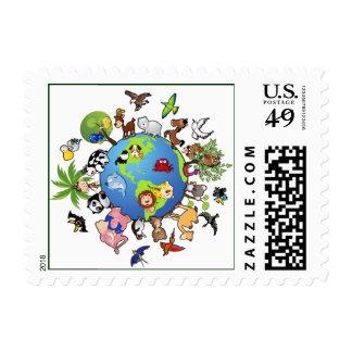 Reino animal pacífico - animales en todo el mundo estampilla