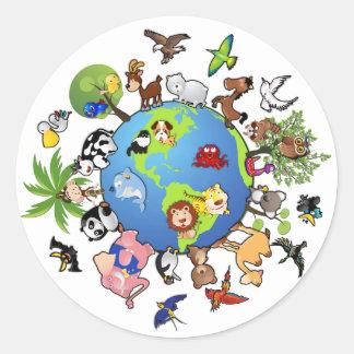 Reino animal pacífico - animales en todo el mundo pegatina redonda