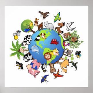 Reino animal pacífico póster