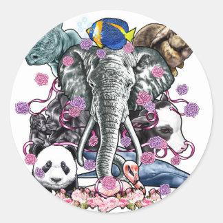 Reino animal pegatina redonda