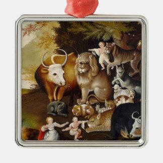 Reino apacible, c.1834 (aceite en lona) adorno navideño cuadrado de metal