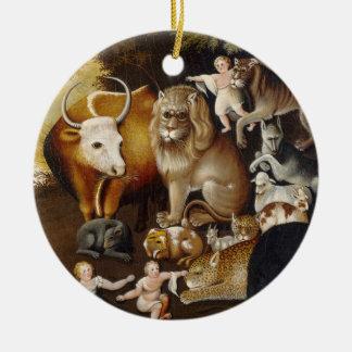 Reino apacible, c.1834 (aceite en lona) adorno navideño redondo de cerámica