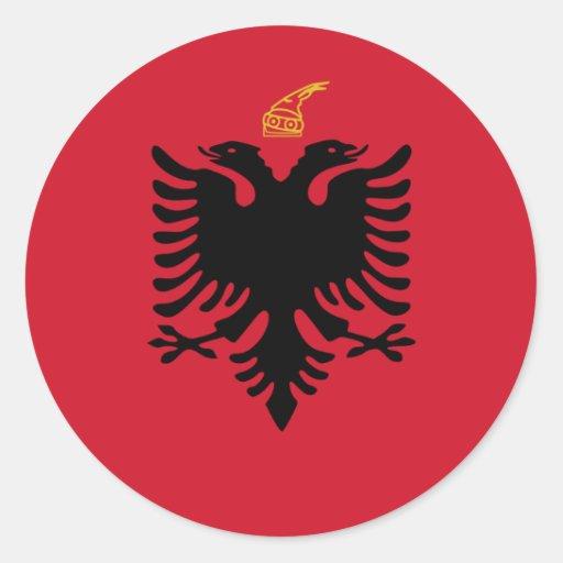 Reino bandera de Albania, Albania Pegatina Redonda